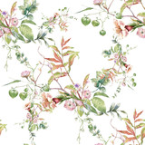 Watercolor painting of leaf and flowers, seamless pattern on white background - 228786013