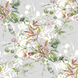 Watercolor painting of leaf and flowers, seamless pattern on gray background - 228786025