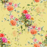 Watercolor painting of leaf and flowers, seamless pattern on Cream Yellow background - 228786026