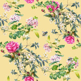 Watercolor painting of leaf and flowers, seamless pattern on Cream Yellow background - 228786038