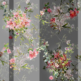 Watercolor painting of leaf and flowers, seamless pattern on gray background - 228786054