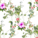 Watercolor painting of leaf and flowers, seamless pattern on white background - 228786058