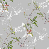 Watercolor painting of leaf and flowers, seamless pattern on gray background - 228786252