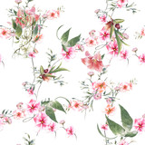 Watercolor painting of leaf and flowers, seamless pattern on white background - 228786261