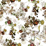 Watercolor painting of leaf and flowers, seamless pattern on white background - 228786263