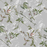 Watercolor painting of leaf and flowers, seamless pattern on gray background - 228786279