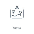 Canvas concept line icon. Linear Canvas concept outline symbol design. This simple element illustration can be used for web and mobile UI/UX.