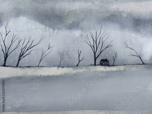 watercolor landscape winter season lonely house in the countryside cover dead tree and snow. © atichat