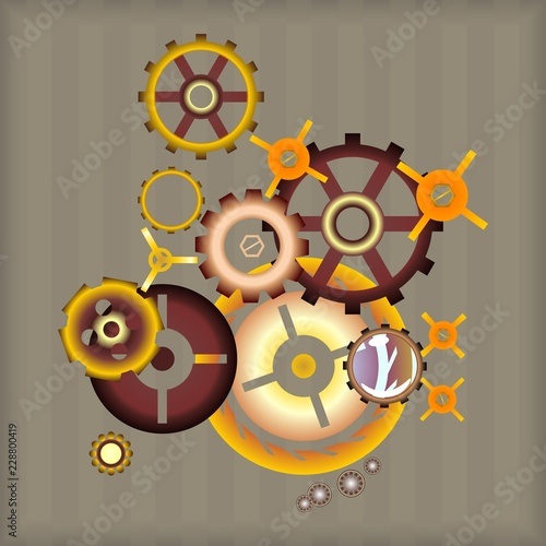 vector image set Steampunk design gear elements © Koriolis