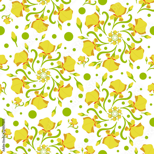 Seamless pattern with stylized flowers, orchid flower. Vector illustration. - 228807233
