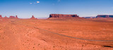 Aerial view of the Monument Valley National park with amazing monuments and endless road