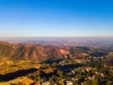 July 10, 2018. Los Angeles, California. Aerial view of the Hollywood sign from the distance with an amazing Mount Lee view, in the Hollywood Hills area of the Santa Monica Mountains