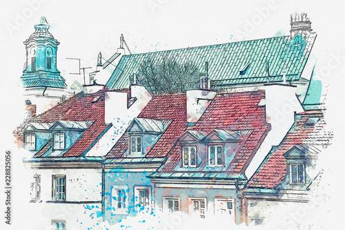 A watercolor sketch or illustration of a traditional street with apartment buildings in Warsaw, Poland. - 228825056