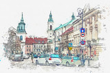 A watercolor sketch or illustration of a traditional street with apartment buildings in Warsaw, Poland. Cars go on the road and people go about their daily business. Normal city life.