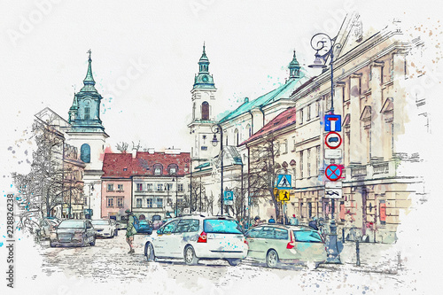 A watercolor sketch or illustration of a traditional street with apartment buildings in Warsaw, Poland. Cars go on the road and people go about their daily business. Normal city life. - 228826238