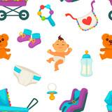 Baby newborn kid and pram perambulator seamless pattern vector.