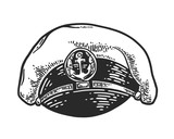 Captain hat isolated on white background. Vector vintage engraving illustration for logo, emblem, tattoo, poster, t-shirt, web and label. Hand drawn in a graphic style. - 228830891