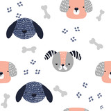 Funny dog seamless pattern. Kids fashion print. Vector hand drawn illustration. - 228836068