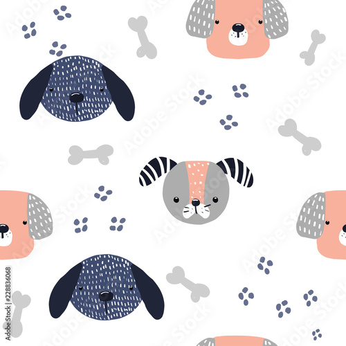 obraz PCV Funny dog seamless pattern. Kids fashion print. Vector hand drawn illustration.