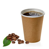 Blank take away coffee cup with beans and leaves isolated on white background