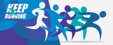 running people set of silhouettes, sport and activity  background - 228838894