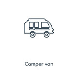 Camper van concept line icon. Linear Camper van concept outline symbol design. This simple element illustration can be used for web and mobile UI/UX.