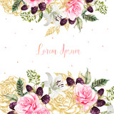 Wedding cards with golden graphic and watercolor flowers. Rose, lily and berries.  - 228844097