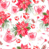 Beautiful bright watercolor New Year pattern with Christmas flower and gifts.  - 228844209