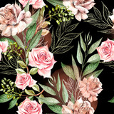 Beautiful watercolor pattern with rose flowers and eucalyptus leaves.  - 228844406