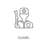 Guard linear icon. Guard concept stroke symbol design. Thin graphic elements vector illustration, outline pattern on a white background, eps 10.