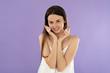 Leinwanddruck Bild - portrait beautiful young woman washing face with foam