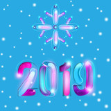 2019 New Year Card Design with Snowflakes - 228850218