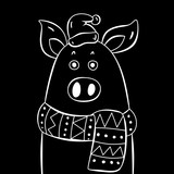 Contour pig in hat  on black background. Logo, icon and postcard elements. Christmas and new year 2019 idea.