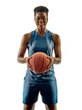 one african Basketball players woman teenager girl isolated on white background with shadows - 228853204