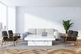 White living room, white sofa - 228856033