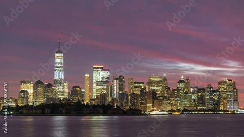 New York City Skyline Sunrise Timelapse Video