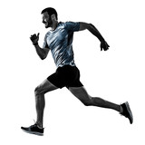 one caucasian man runner jogger running jogging isolated on white background with shadows - 228857840