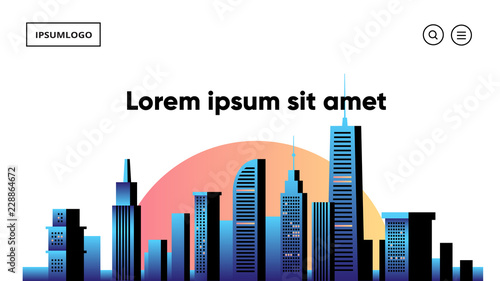 Cityscape vector illustration. Silhouettes of urban buildings. - 228864672