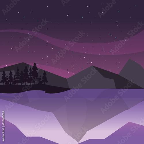 Sticker rocky mountains sky night natural landscape