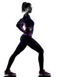 one young caucasian woman runner running jogger jogging isolated silhouette shadow on white background - 228875071