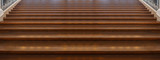 Wide wooden stairs texture, background, Close up view