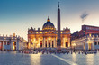 St. Peter's Basilica in Rome, Italy, at sunset. Stylized travel and architectural background.