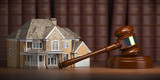 House with gavel and law books.  Real estate law and house auction concept - 228879432