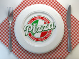Pizza text on the plate in italian restaurant. Top view. - 228879681