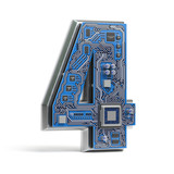 Number 4 four, Alphabet in circuit board style. Digital hi-tech letter isolated on white. - 228881602