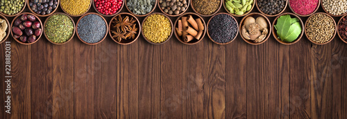 various spices and ingredients background. colorful seasonings, Indian food.