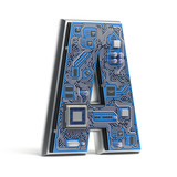 Letter A, Alphabet in circuit board style. Digital hi-tech letter isolated on white. - 228882255