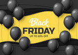 Black Friday sale banner design with balloon  background - 228907231