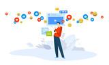 Vector illustration concept of video marketing, streaming. Creative flat design for web banner, marketing material, business presentation, online advertising. - 228908604