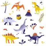 Fototapeta Dinusie - Cute Dinosaurs isolated on white background. Dinosaur footprint, Volcano, Palm tree, Stones. Baby Dino Collection for Nursery, Textile, Book, Print in vector © wooster